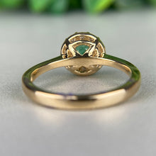 Load image into Gallery viewer, Emerald and diamond ring in 14k yellow gold