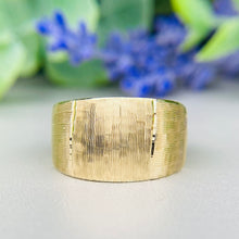 Load image into Gallery viewer, 14k yellow gold wide textured band