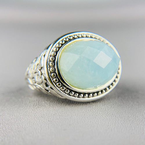Checkerboard aquamarine ring in sterling silver