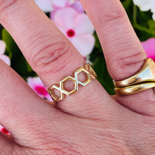 Load image into Gallery viewer, 14k yellow gold hexagonal band ring
