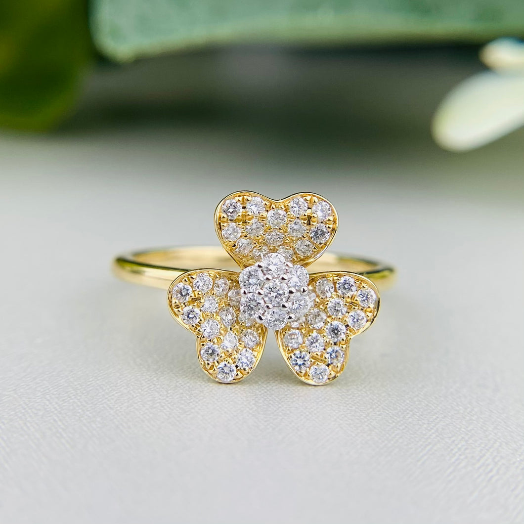 FINAL SALE!  14k yellow gold diamond blossom ring