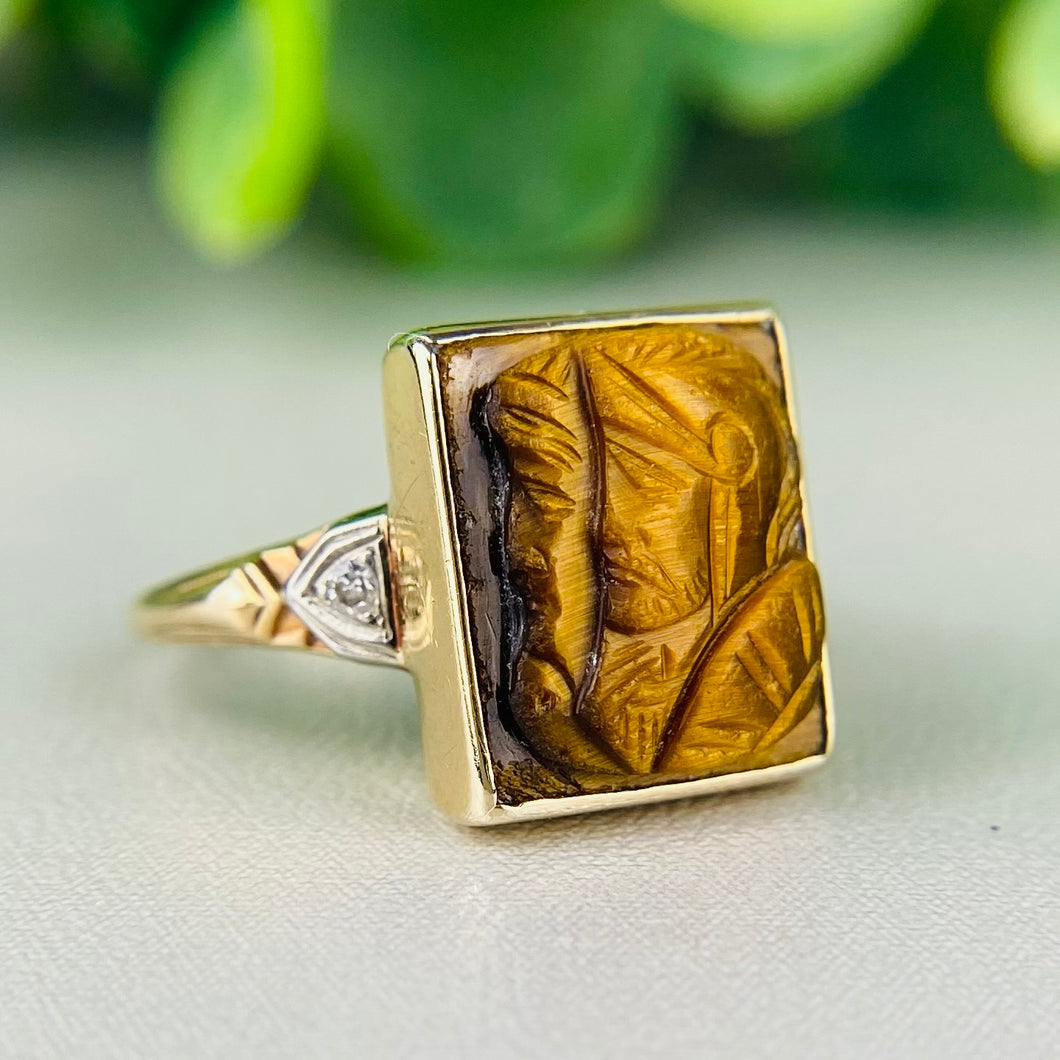 Vintage tigers eye and diamond cameo ring in yellow gold