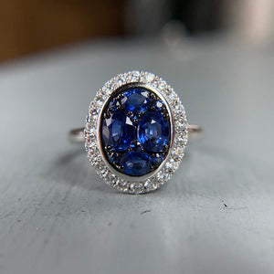 PAYMENT 6 OF 6; Sapphire and diamond cluster ring in white gold