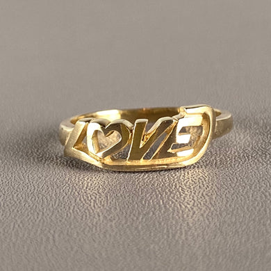 Vintage LOVE ring in yellow gold