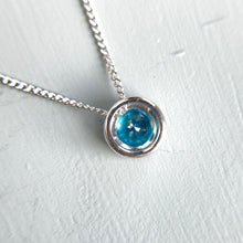 Load image into Gallery viewer, Blue topaz necklace in 14k white gold