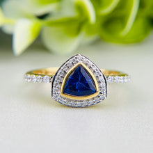 Load image into Gallery viewer, Tanzanite and diamond ring in 18k yellow gold