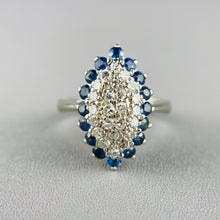 Load image into Gallery viewer, Sapphire and diamond navette in white gold