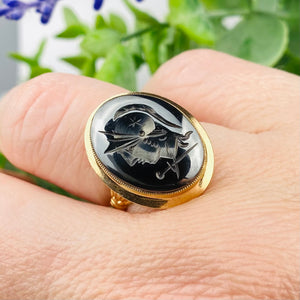 Vintage hematite intaglio ring in yellow gold
