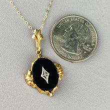 Load image into Gallery viewer, Onyx and diamond necklace in yellow gold
