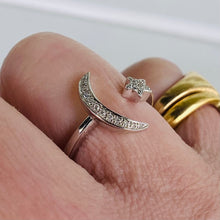 Load image into Gallery viewer, Crescent moon and star ring in 14k white gold by Effy