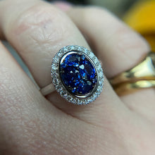 Load image into Gallery viewer, PAYMENT 6 OF 6; Sapphire and diamond cluster ring in white gold