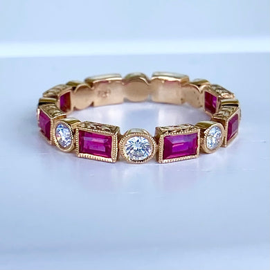 Lab Ruby and diamond band in 18k yellow gold