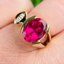 Load image into Gallery viewer, Modern Rubellite and diamond ring in 14k yellow gold