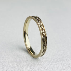 Vintage 14k white gold patterned band
