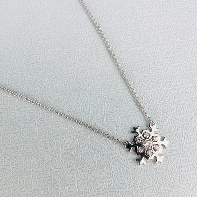 FINAL SALE!  14k white gold diamond snowflake necklace