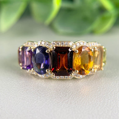 Rainbow ring in 14k yellow gold by Effy