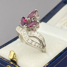 Load image into Gallery viewer, SALE!  Ruby and diamond ring in 14k white gold
