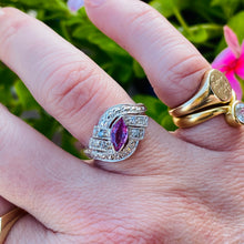 Load image into Gallery viewer, Pink sapphire and diamond ring in 14k white gold