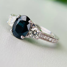 Load image into Gallery viewer, Midnight Blue sapphire and diamond ring in 14k white gold