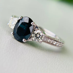 Midnight Blue sapphire and diamond ring in 14k white gold