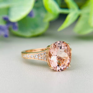 Morganite and diamond ring in 14k rose gold by Effy