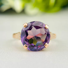 Load image into Gallery viewer, Vintage Color change sapphire ring in rose gold