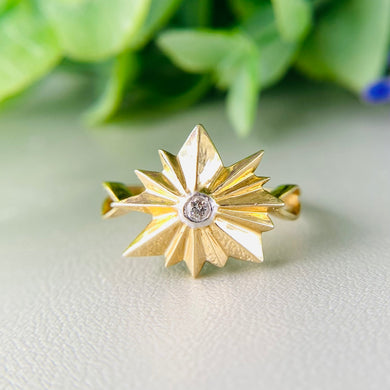 Funky spiky shield diamond ring in 14k yellow gold