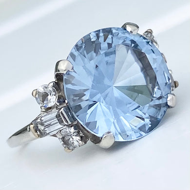 Large blue spinel in white gold ring