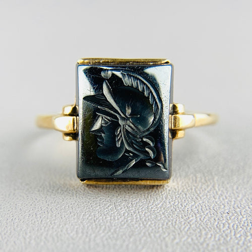 PAYMENT 2 OF 3; Vintage hematite intaglio ring in yellow gold DC