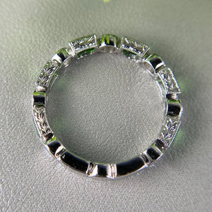 Tsavorite and diamond band in 18k white gold C3