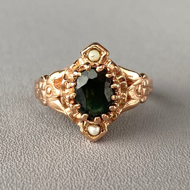 Rose gold green sapphire and seed pearl ring