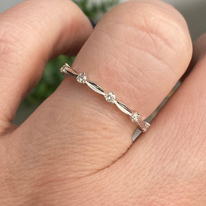 Diamond station band in 14k white gold