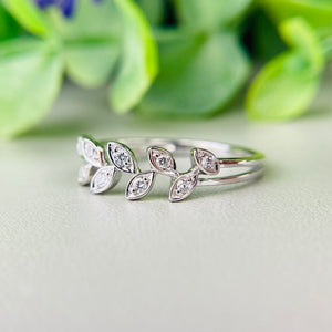 Diamond laurel leaf ring in 14k white gold
