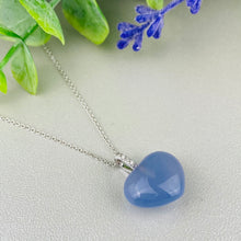 Load image into Gallery viewer, Blue chalcedony and diamond heart necklace by Effy in 14k white gold