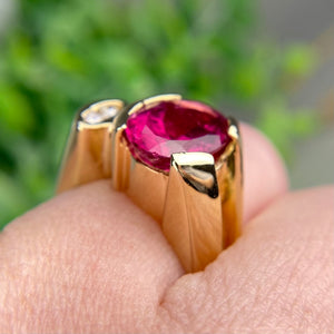 Modern Rubellite and diamond ring in 14k yellow gold