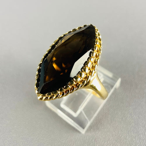 Vintage Smokey quartz navette ring in 14k yellow gold