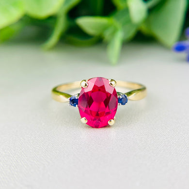 Vintage synthetic ruby and sapphire ring in 14k yellow gold
