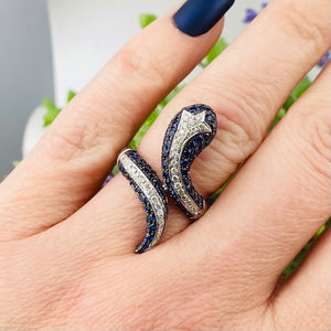 Sapphire and diamond snake ring in 14k white gold by Effy
