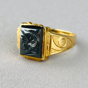 Hematite intaglio in 10k yellow gold