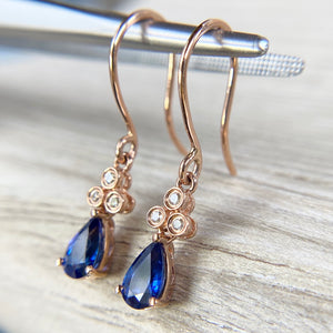 Sapphire and diamond earrings in rose gold