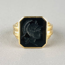 Load image into Gallery viewer, 14k yellow gold onyx intaglio ring