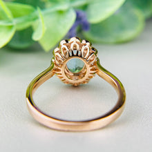 Load image into Gallery viewer, Aquamarine and Diamond halo ring in 18k rose gold