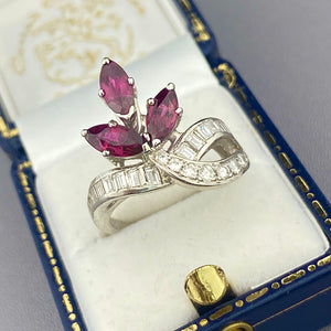 SALE!  Ruby and diamond ring in 14k white gold