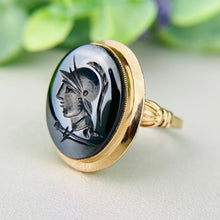 Load image into Gallery viewer, Vintage hematite intaglio ring in yellow gold