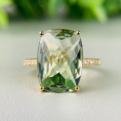 Cushion cut 6.5ct prasiolite and diamond ring by Effy