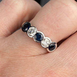 Blue sapphire and diamond band in 14k white gold by Effy