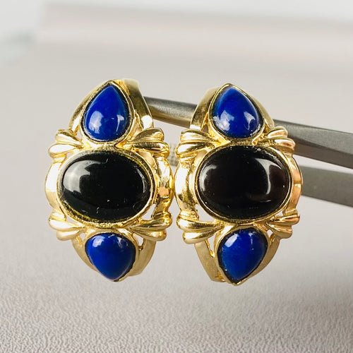 Estate onyx and lapis earrings in yellow gold