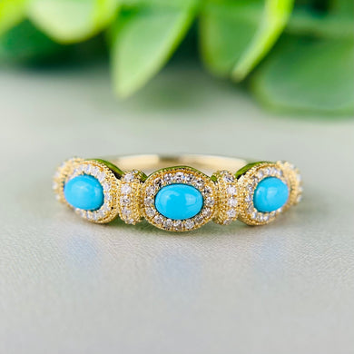 Turquoise and diamond band in 14k yellow gold by Effy
