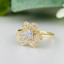 Load image into Gallery viewer, FINAL SALE!  14k yellow gold diamond blossom ring