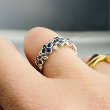 Load image into Gallery viewer, Sapphire and diamond floral bubble band in white gold
